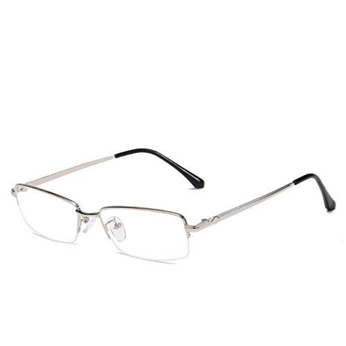 Mkulxina Anti-Blaue Brillenmode quadratischen Metallrahmen Brille für Frauen, Männer (Color : Silver)