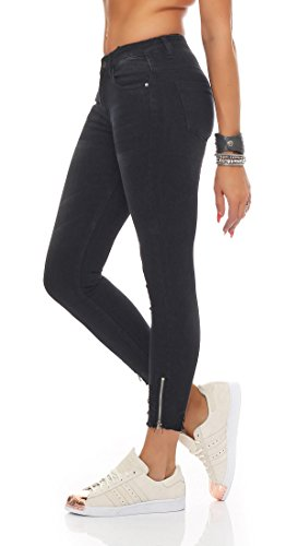SKUTARI Damen Royal Skinny Stretch Röhren Luxus Jeans Destroyed Denim Look Risse Knie Hoher BundStretch Schwarz 1