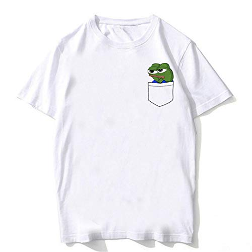 8954f793ff9b8 Pepe Frog Unisex Manga Corta O-Cuello Harajuku Verano Camiseta Blanca  Ocasional Kt216-5