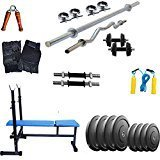 Gold Fitness 3 In 1 Bench With Adjustable Combo Home Gym Set 48 Kg Rubber Plates + 5 Ft Plain Rod + 3 Ft Curl Rod + Gym Accessories + Dumbbell Rods