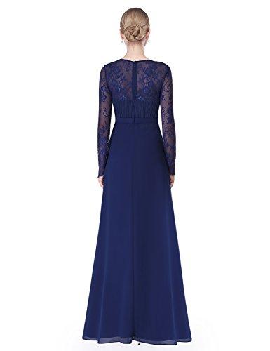 Ever Pretty Damen Elegant Langarm Abendkleid Maxikleider 08692 Marineblau