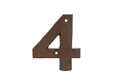 Türnummern 0-9 aus Gusseisen, Vintage-Stil, rostbraun, verwittertes Finish für einen authentischen, rustikalen Look