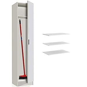 HABITMOBEL Armario Alto Multiusos, 1 Puerta Color Blanco e Profundidad (estantes adicionales INCLUIDOS)