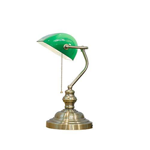 Art Glass Vintage Tisch Lampe (Bankers Schreibtischlampe große traditionelle Art poliertem Eisen & Green Glass Banker Tischlampe Schwenkkopf Tischleuchte Bankers lamp mit Zugschalter E27 Bankerlampe Schreibtischleuchte)