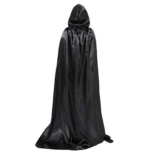 Huntforgold Umhang mit Kapuze Lange Satin Cape für Halloween Vampir Kostüm(60-170cm) Schwarz