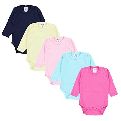 TupTam Mädchen Baby Body Langarm Unifarben 5er Pack, Farbe: Farbenmix 1, Größe: 68