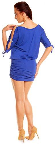 Zeta Ville - Mini Robe - Sexy Robe de club dégageant les épaules - Femme - 157z Bleu Royal