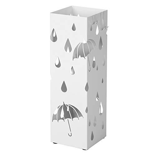 Songmics porta ombrelli in metallo, portaombrelli quadrato, con gancini e vaschetta scolapioggia rimovibile, 15,5 x 15,5 x 49 cm, bianco luc49w