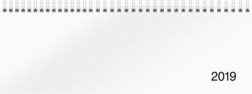 rido/idé 703650100 Tischkalender/Querterminbuch Modell Sequenz, 2 Seiten = 1 Woche, 297 x 105 mm, Karton-Einband Trucard weiß, Kalendarium 2019, Wire-O-Bindung