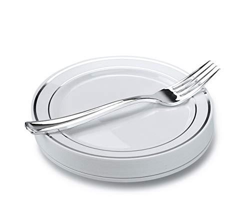 arty Einweg Kunststoff Teller, Schwergewicht Silber Rand Teller & Besteck Set 60 Settings Small Dessert/Cake Setting ()