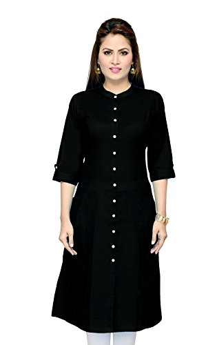 Pistaa women's Black Cotton A-Line Kurti with Plus Size