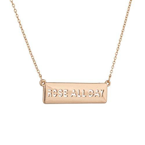 LUX Zubehör rosé goldfarbenes alle Tag Namensschild Bar Verbiage Charm Halskette (Kleine Mädchen Birthstone Halsketten)