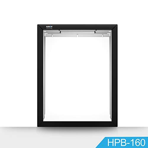HAVOX - Fotostudio HPB-160 - Maße 120x80x160cm - 6X LED-Beleuchtung Tageslicht 5500k - 30,000 Lumen - CRI 93 - Machen Sie Ihre kommerziellen Fotos zu E-Commerce