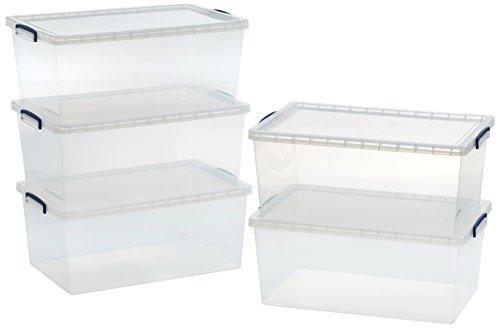 AmazonBasics - Scatole portaoggetti in plastica trasparente, con coperchi, 62 l, confezione da 5