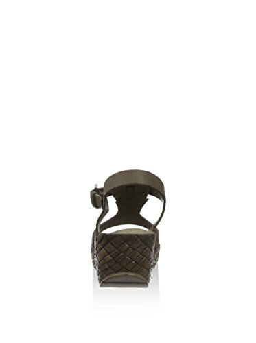CAFèNOIR Damen Knöchelriemchen Sandalen mit Keilabsatz Braun