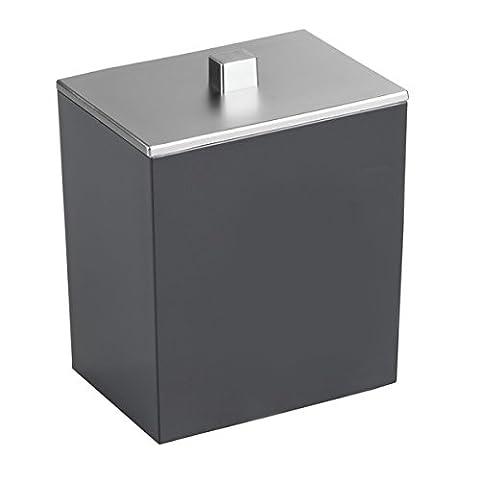 Interdesign 41487EU Boîte Clarity pour Boules de Coton, disques à démaquiller, Sels de Bain - Noir/ Brossé Plastique 8, 9 x 6, 4 x 11, 1 cm