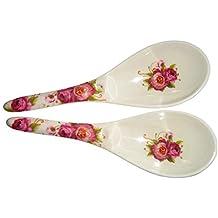 2 x Thai Servir Cuchara ranuradora de kundststoff con Flores para stilechten Servir de Asia Mesas
