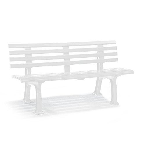 Parkbank aus Kunststoff, Weiß – Gartenbank - 4