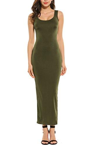 Zeagoo Damen Ärmellos Sommer Maxikleid Sleeveless Strandkleid Mdikleid Tank Dress Langes Kleid