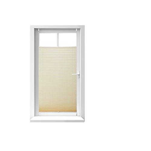 Relaxdays Store vénitien sans perçage volet fenêtre beige laisse passer la lumière, 60 x 130 cm, beige