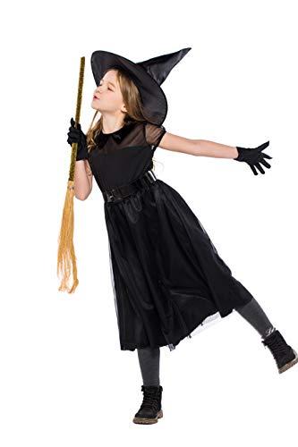 Acmede costume strega bambina nero ragazze halloween costume streghetta travestimento carnevale halloween costume per bambina da strega nero