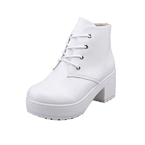 Graue Ankle-boots (Stiefel Damen Schuhe Sonnena Ankle Boots Frauen Winterstiefel Punk Rough Knöchel Stiefel Warm GefütterteWinterschuhe High Heel Blockabsatz Boots Leder-Optik Schuhe Schnürschuhe (36, Sexy Weiß))