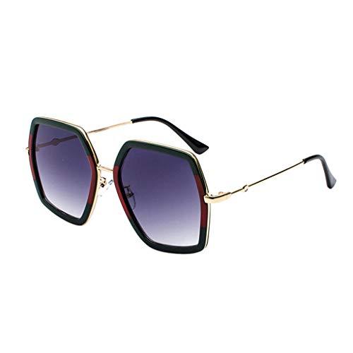 Lazzboy Herren- Und Damen-sonnenbrille Aus Metall Mit Großem Gestell Unisex Sonnenbrille Retro Stark Brillen Quadratische Metallrahmen Für Männer Frauen Klassiker Piloten(D)
