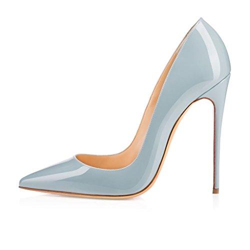 ELASHE - Femmes - Stiletto sexy - Classic talon haut- Cuir synthétique - Grande Taille - Haute couture - Talon aiguille 12CM - Bout pointu fermé Bleu-Clair