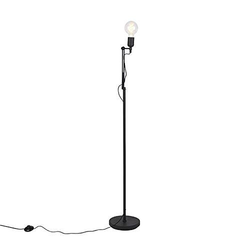 QAZQA Modern Moderne Stehleuchte/Stehlampe / Standleuchte/Lampe / Leuchte schwarz - Slide/Innenbeleuchtung / Wohnzimmer/Schlafzimmer / Küche Metall Andere LED geeignet E27 Max. 1 x 60 - Slide Dimmer Licht