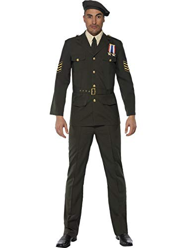 Männer Militär Armee Offizier Soldat Kostüm mit Hose, Jacke, Gürtel, Schlips und Barett, perfekt für Karneval, Fasching und Fastnacht, M, Grün ()