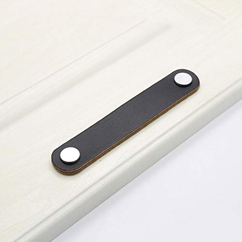 2/8/10-teiliges Leder-Türgriff-Set für Schrank, Schublade, Ziehknauf, Möbel-Dekoration, schwarz