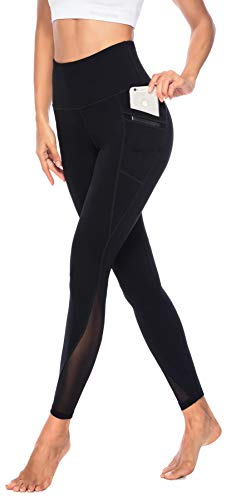 Persit Yoga Leggings Damen, Sporthose Yogahose Sport Leggins Tights für Damen Schwarz-M
