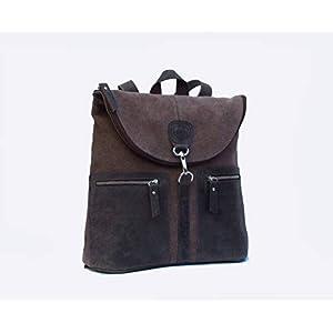 Rucksack für Frauen handgefertigt. Rucksack aus Leder und Canvas. Brauner Rucksack.