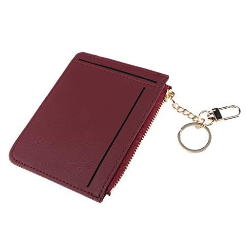 Münzfach Brieftasche (IPOTCH Kartenetui Damen Münzfach Geldbörse Geldbeutel Kartenhalter Brieftasche Kreditkartenetui mit Reißverschluss - Weinrot)