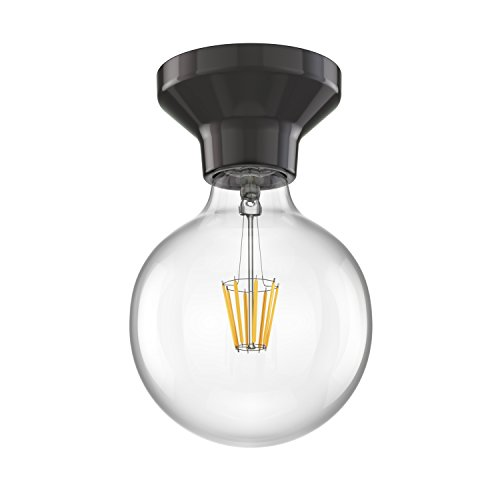 ledscom.de LED Deckenleuchte Elektra Porzellan schwarz Kugel inkl. E27 G125 Lampe warm-weiß 850lm (Porzellan-deckenleuchte)
