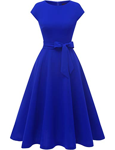Dresstells Midi 1950er Vintage Retro Rockabilly Kleid Damen elegant Hochzeit Cocktailkleid Royalblue L