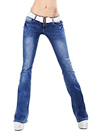 98b7af5faec RED SEVENTY Womens Ladies Hipster Bootcut Jeans Dark Blue Wash stretchy + Belt  Sizes UK 6