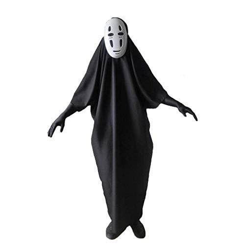 Kostüm Cosplay Ins Reise Chihiros Zauberland - Dreamowl Herren Erwachsene Chihiros Kein Gesicht männlich Cosplay MasksGloves Halloween-Partei-Kostüm klein schwarz