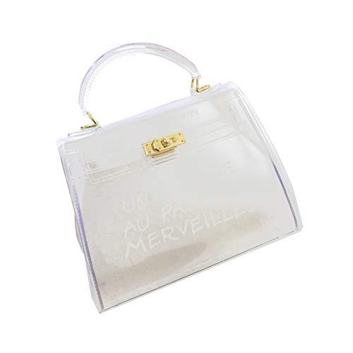 cineman Damenhandtaschen Neue Koreanische Version All-Matched Candy Farbe Gelee Paket Transparente Tasche Mode Handtasche Umhängetasche (S, Weiß)