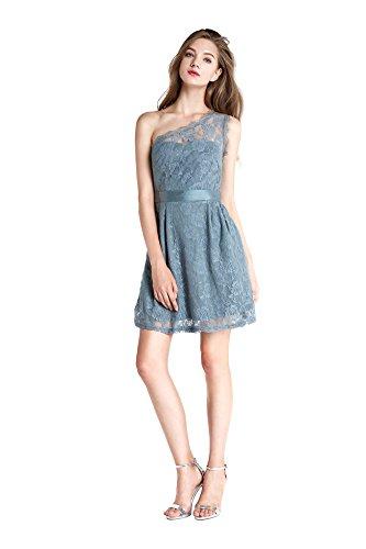 Wedtrend Frauen kurze Spitzenkleid Ein-Schulter Brautjungferkleid Sexy Partykleid Cocktailkleid Marineblau