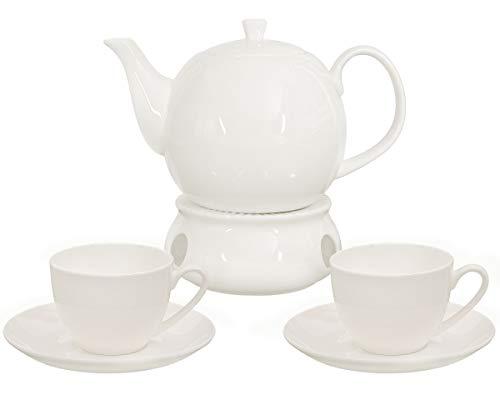 Buchensee Kaffeeservice aus Fine Bone China Porzellan. Tee- / Kaffeekanne in fein-cremigem Weiß mit...