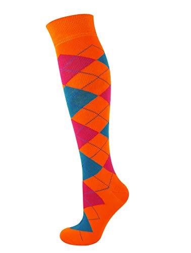 Mysocks® Knie hoch Argyle Socken Grau Dunkelgrau Schwarze rote Linie