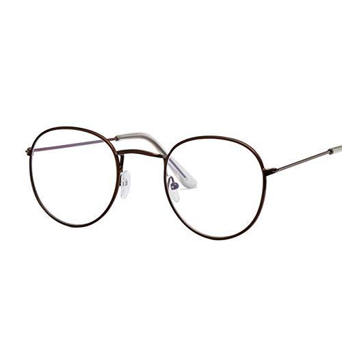 YHEGV Ovale Damenbrille Optische Brillen Metall Runde Brillenfassung Klare Linse Brillen Schwarz Silber Gold Brillenglas
