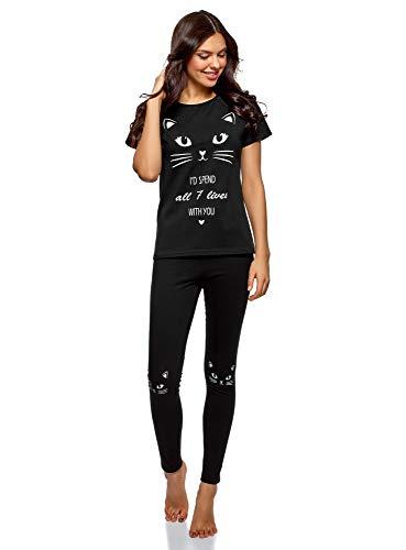 oodji Ultra Mujer Pijama con Pantalones y Estampado Gatito, Negro, ES 38 / S