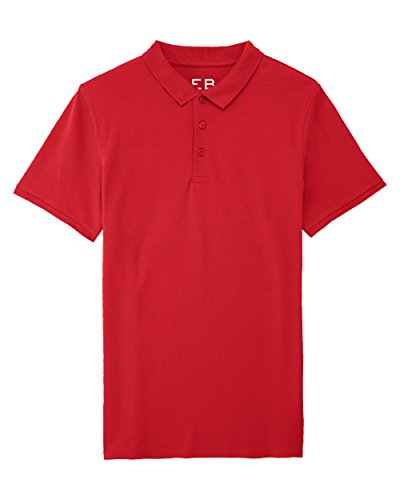 Everbasics Herren Pique Funktions Polo-Shirt, Rot, Gr. M (Polo Bio-baumwoll-piqué)