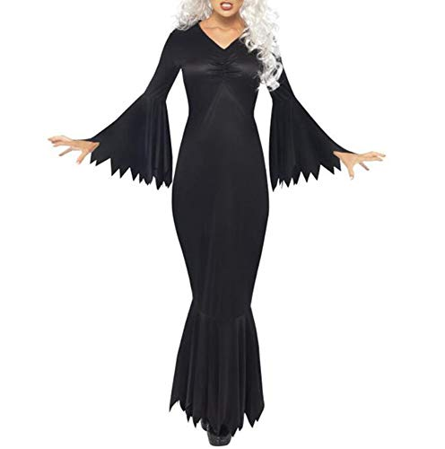 Famesale Frauen Halloween Horror Make-up Party Kostüm Horn Langarm Hexe Kleid Schwarz 2XL