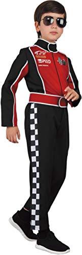 Magicoo Rennfahrer Formel 1 Kostüm Kinder Jungen von 110 bis 128 Rot/Schwarz- Autofahrer F1 Anzug Kind (110/116)