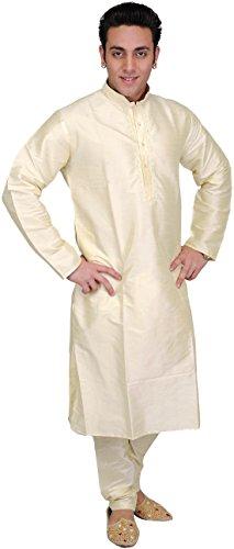 Exotic India Men's Art Silk Kurta (Spc27-46-Lambs-Wool-Ca_Lambs Wool_46)