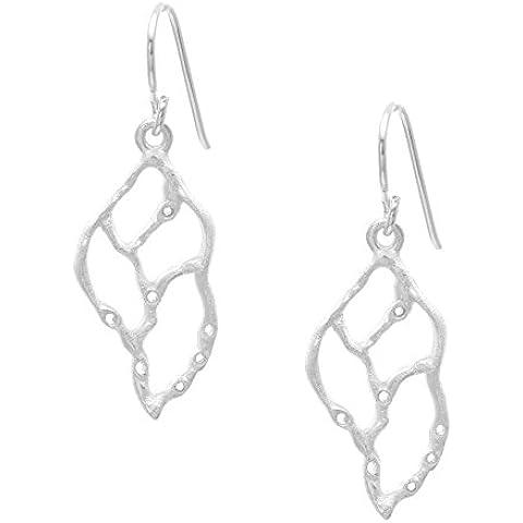 Silverly Orecchini Argento 925 Satinato Design Nautico Conchiglia Pendenti - Argento Strutturato Perle