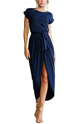 Yieune Sommerkleid Damen Lose Abendkleid Einfarbig Maxikleider Elegant Lange Strandkleid (Marine S)